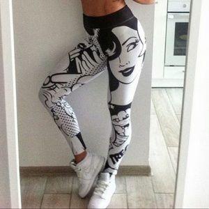 Retro comic book art legging design trendy fire